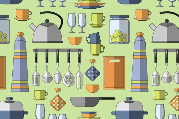 Cooking tools pattern by Netkoff on @creativemarket