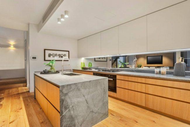 naturstein in der küche holz-stein-kücheninsel-küchenschränke - küche holz modern