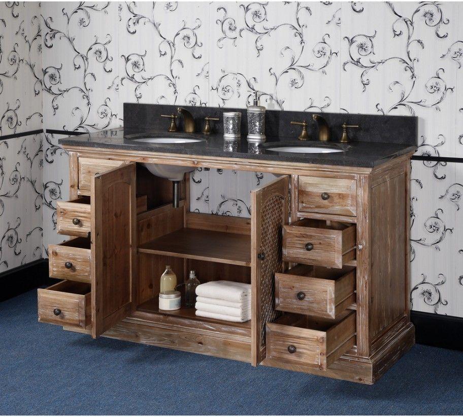 60 Inch Rustic Double Sink Bathroom Vanity Natural Oak Finish