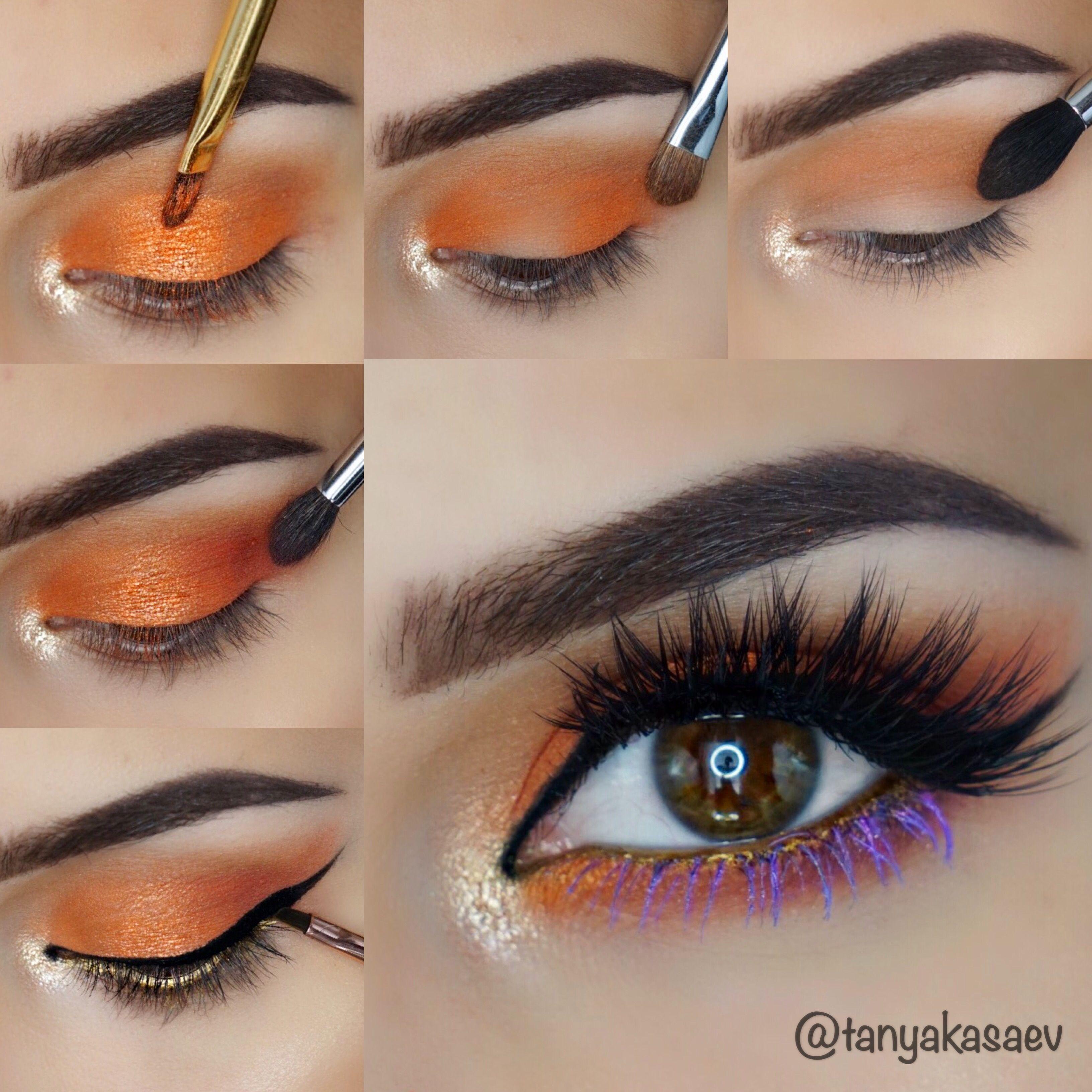 Pictorial tutorial makeup eyeshadow orange beautiful look lashes pictorial tutorial makeup eyeshadow orange beautiful look lashes glow shimmer purple and orange baditri Images