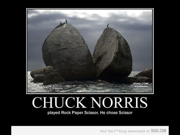 Doesn T Rock Beat Scissors Chuck Norris Chuck Norris Funny Chuck Norris Memes