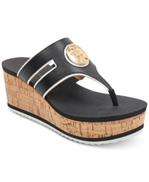 fc25ef0374e5 Tommy Hilfiger Galley Thong Platform Wedge Sandals - Black 7.5M ...