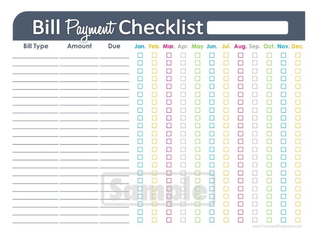 Bill Payment Checklist Printable  Editable  Personal Finance