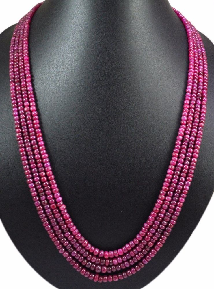 4 strands natural red ruby 542ct cabochon round beads