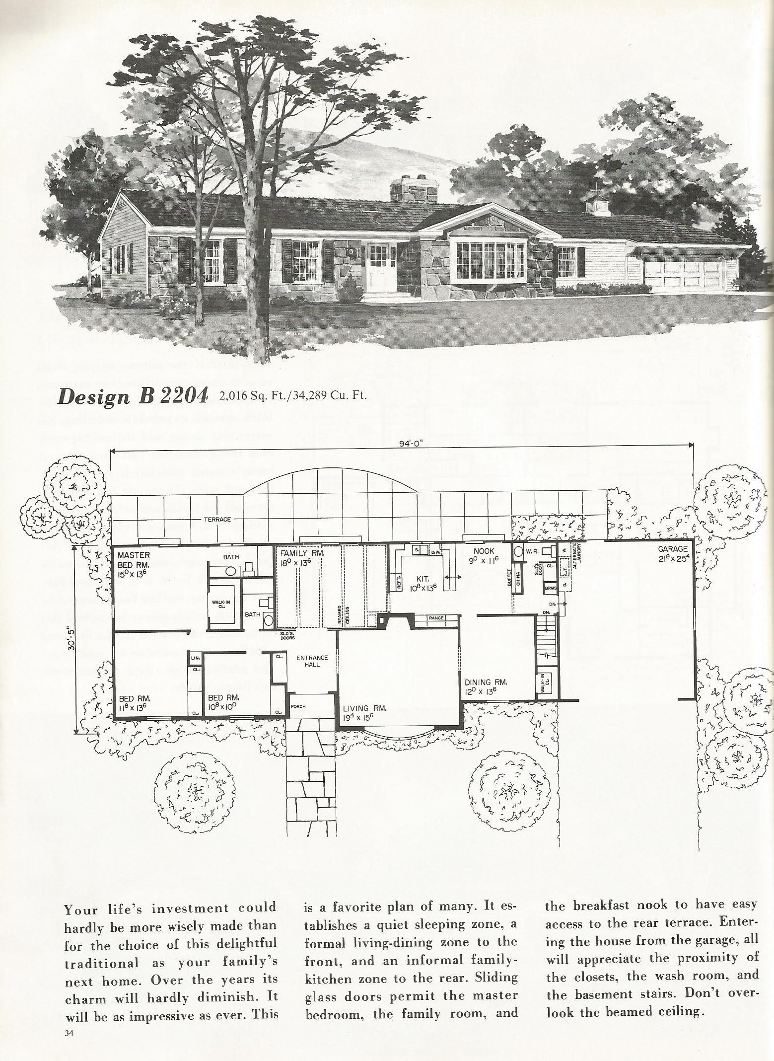 Vintage House Plans, mid century homes, homes over 2000 sq