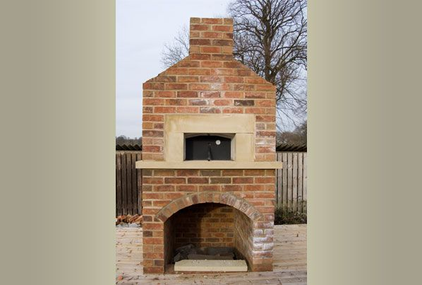 Outdoor Pizza Oven And Fireplace Corner
