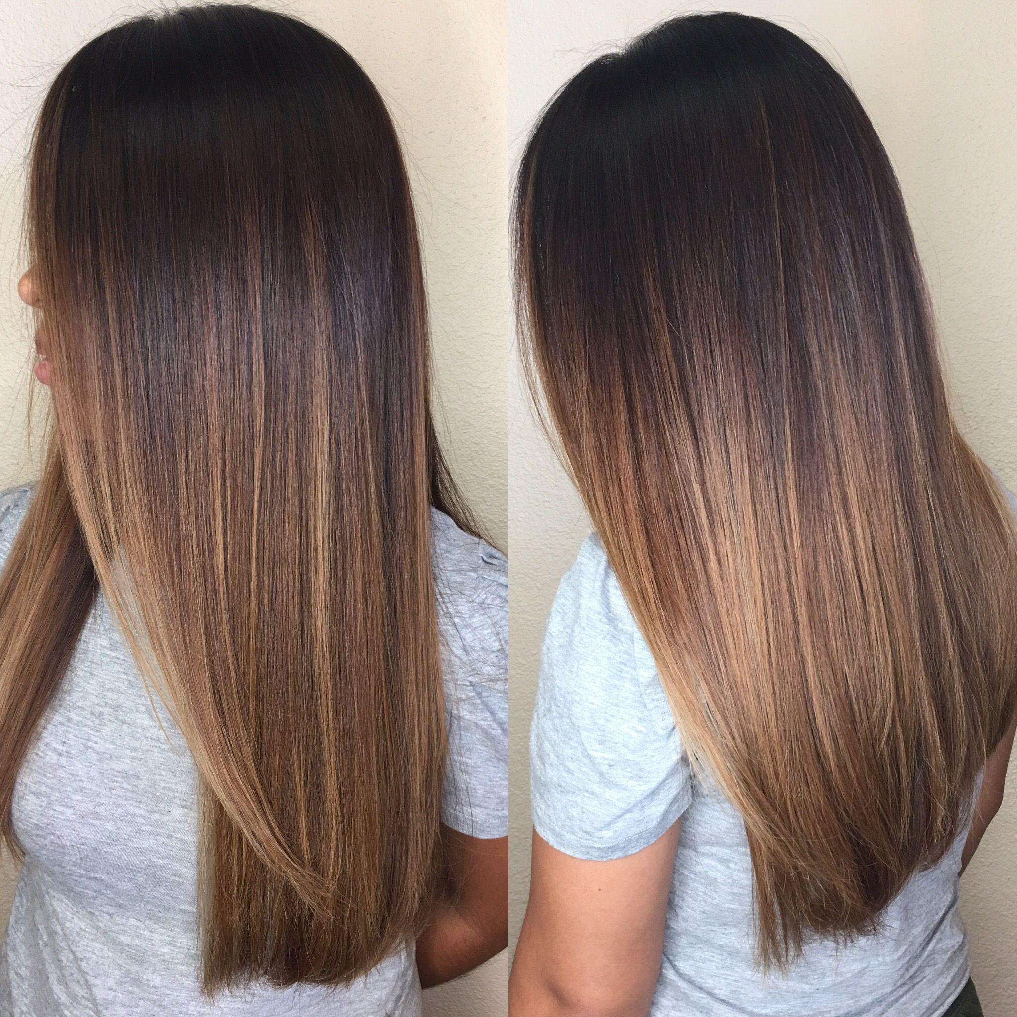 Chocolate Caramel Balayage Brunette Long Layered Hair Balayage Straight Hair Dark Ombre Hair Balayage Brunette Long