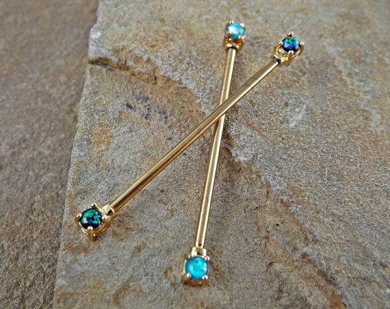 Gold Opal Industrial Barbell Opal Ends Scaffold Piercing 14ga Body Jewelry…