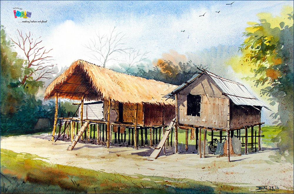 Mishing Traditional House Of Assam People Of Assam Build Traditional Houses Using Bamboo Truss Thatch Buy Paintings Beautiful Paintings Landscape Paintings