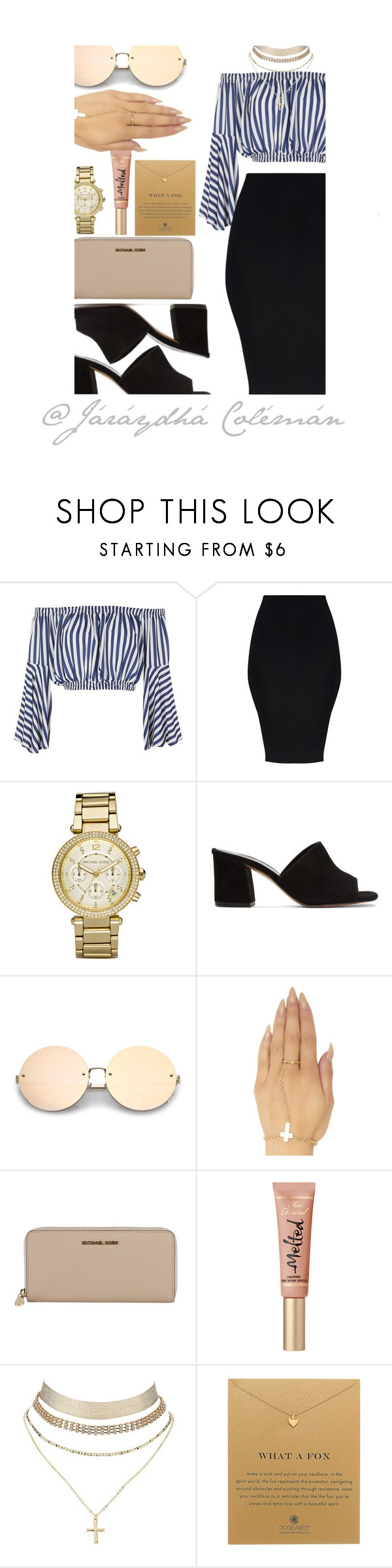 """""""(MON)day (MON)ey"""" by jaraydha99 ❤ liked on Polyvore featuring Love, Michael Kors, Maryam Nassir Zadeh, Wet Seal, MICHAEL Michael Kors, Charlotte Russe and Dogeared"""