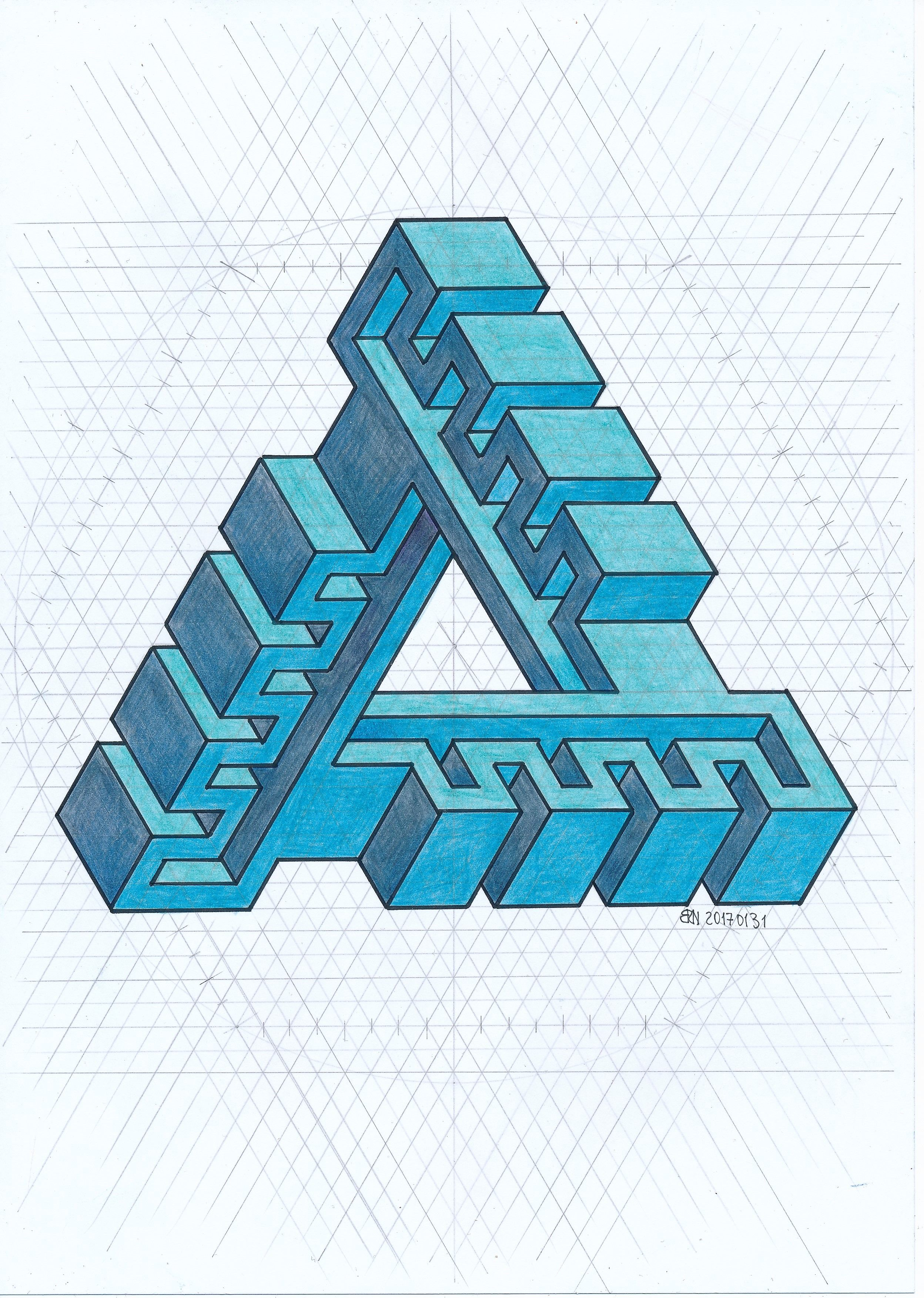 Impossible Isometric Penrose Triangle Escher