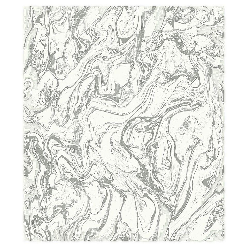 Roommates Marble Peel & Stick Wallpaper In Grey