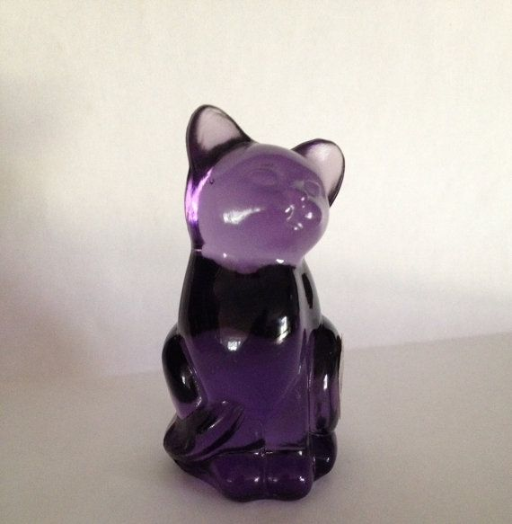 Fenton Art Glass Purple Cat Undecorated with Original Sticker