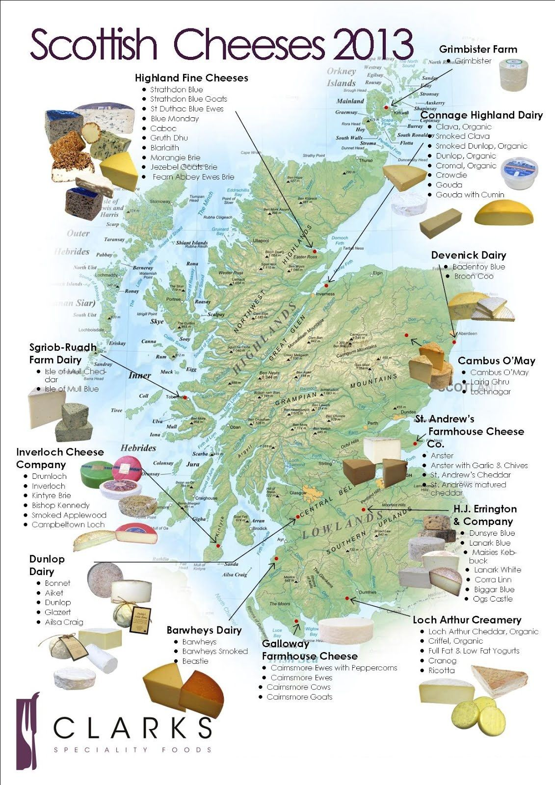 Scotland Cheeses Map Image By Clarksfoods.co.uk 1131