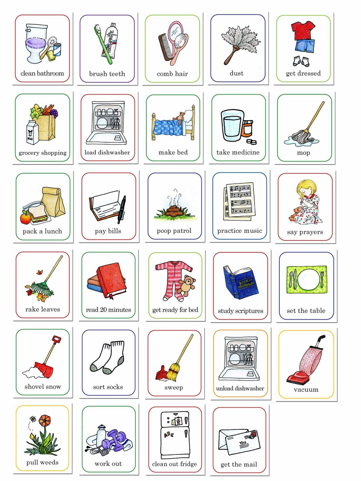It is a picture of Printable Picture Chore Cards within indoor