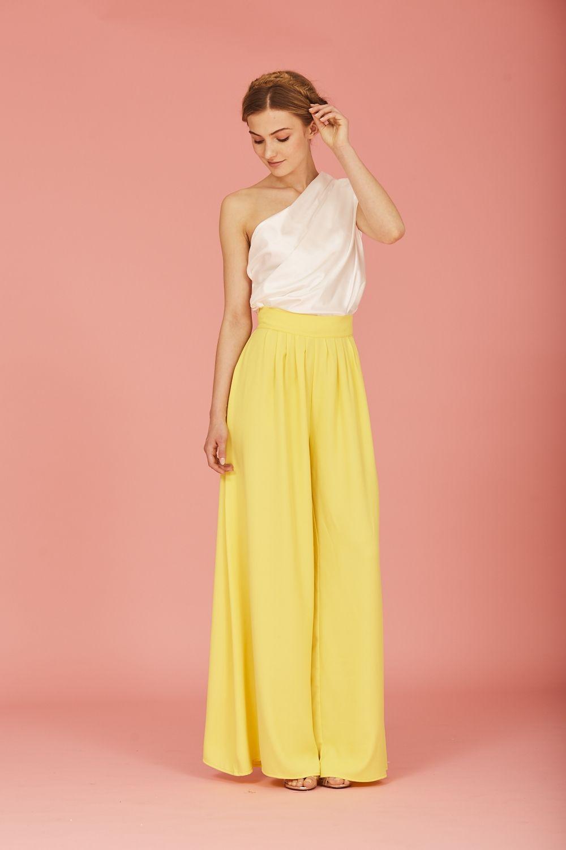 Coosy Pantalon Safir Amarillo Pantalones Anchos De Vestir Ropa Fiesta Mujer Pantalones Con Pliegues