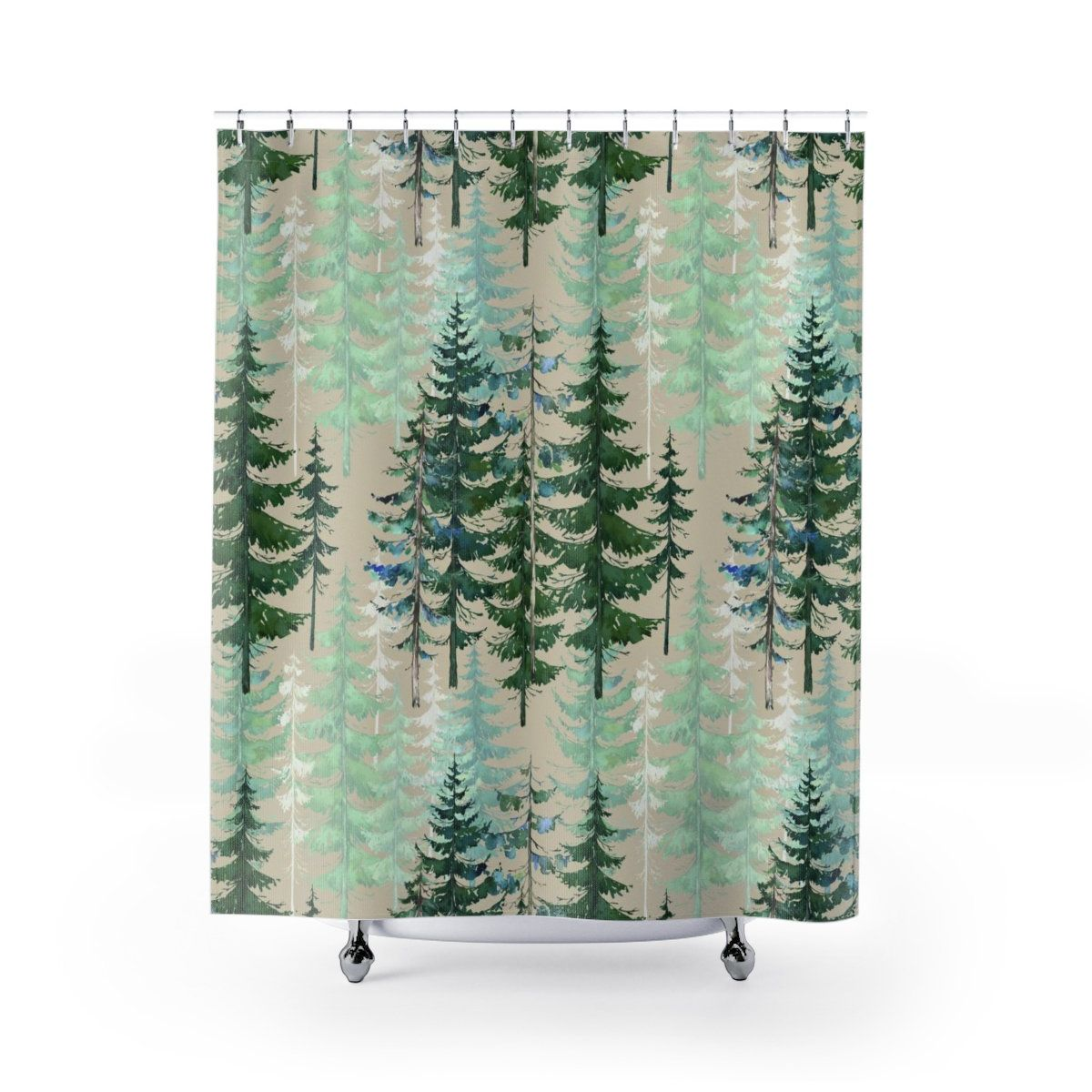 Woodland Forest Shower Curtain Earth Tones Rustic Home