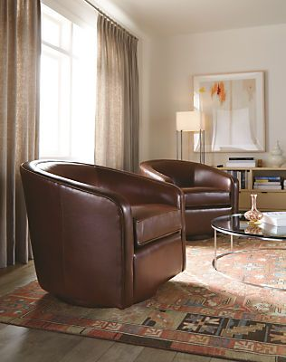 Amos leather swivel chair tub chair leather swivel - Swivel chair living room furniture ...