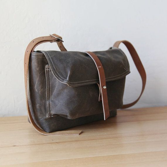 Small Satchel in Stone Waxed Canvas and Leather // Weather Resistant // Organic Cotton Canvas Lining