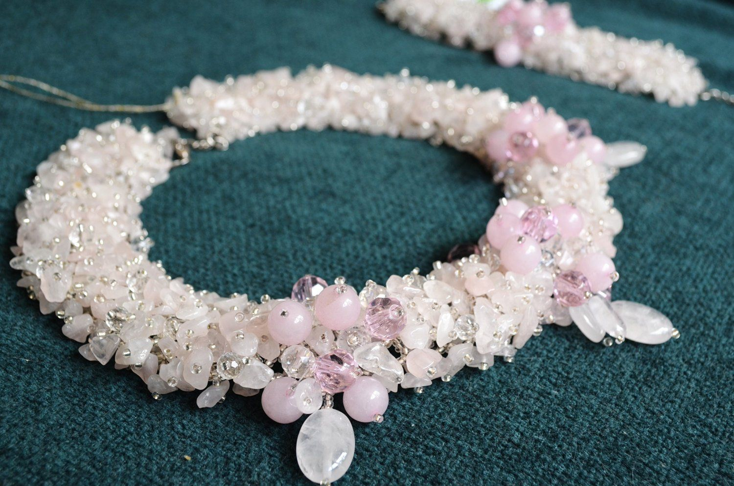 Rose Quartz Beaded Jewelry Pink Quartz Crystal Collar Necklace Bracelet Set of 2 Natural Gemstone Handwoven Artisan Jewelry Beach Wedding
