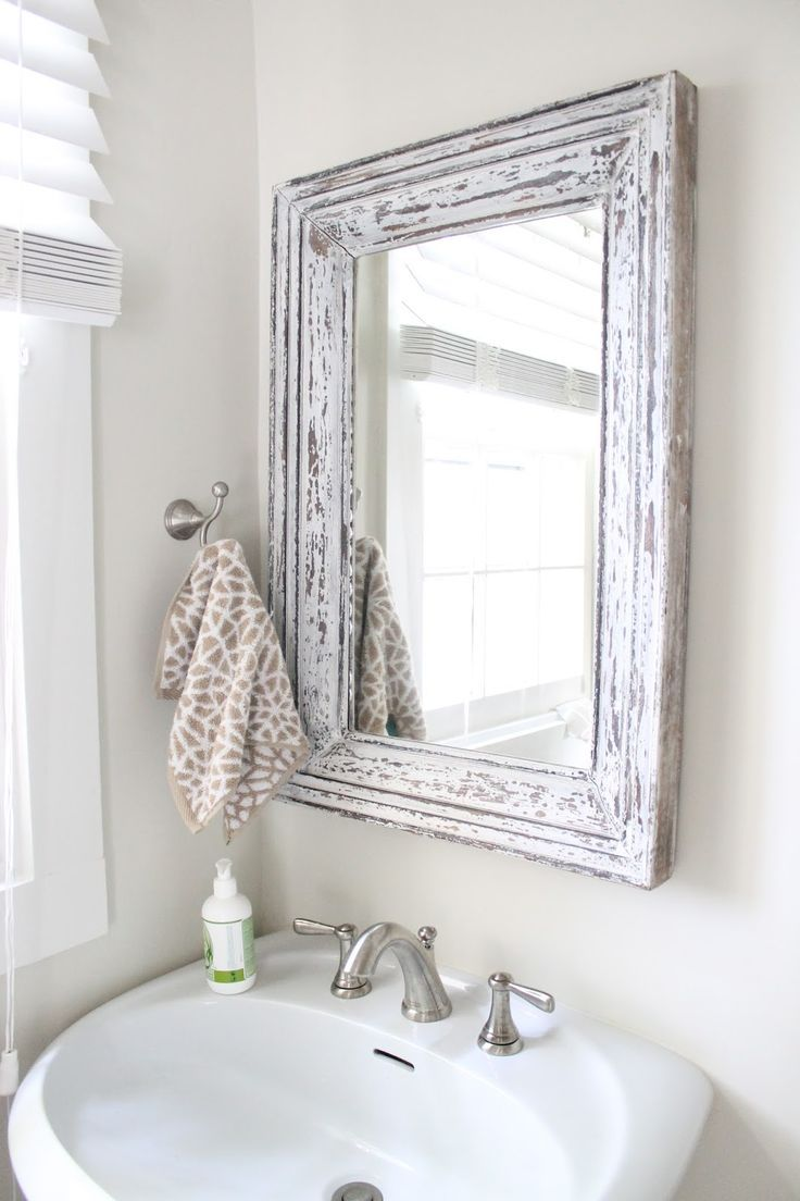 Rustic Bathroom Mirror Use Molding And Distress To Frame Out Mirror White Bathroom Mirror Shabby Chic Bathroom Small Bathroom Mirrors