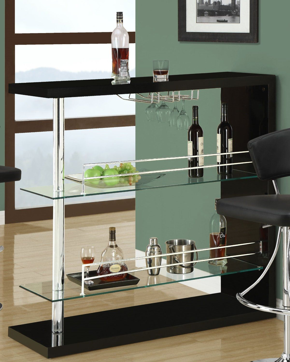 Amazon.com - Coaster Bar Table with Two Glass Shelves in Gloss Black ...
