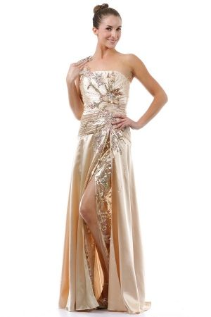Champagne One Shoulder Long/Floor-length Sequins Prom Dress With Sequin PD11C0