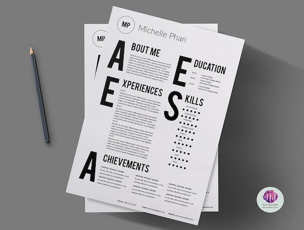Modern Typographic CVs Graphic design resume, Design resume and - visually appealing resume