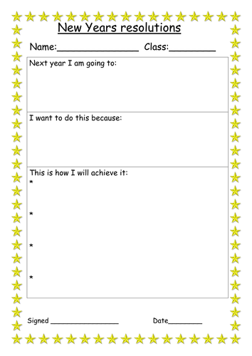 New Years Resolution And Action Plan Worksheet Worksheets Child