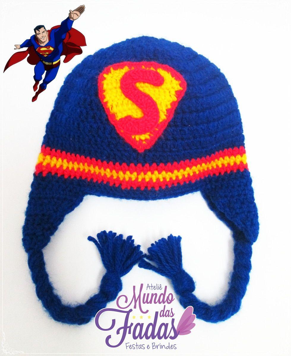 Touca Super Homem   Touca /Gorro de crochê   Pinterest   Mütze ...