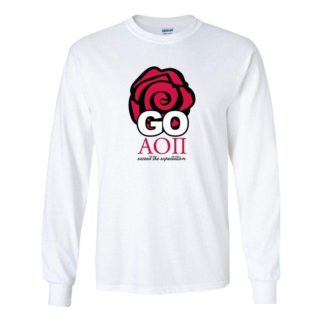 T shirt printing at white rose - Alpha Omicron Pi Long Sleeve T Shirt Go Aoii Rose Design White