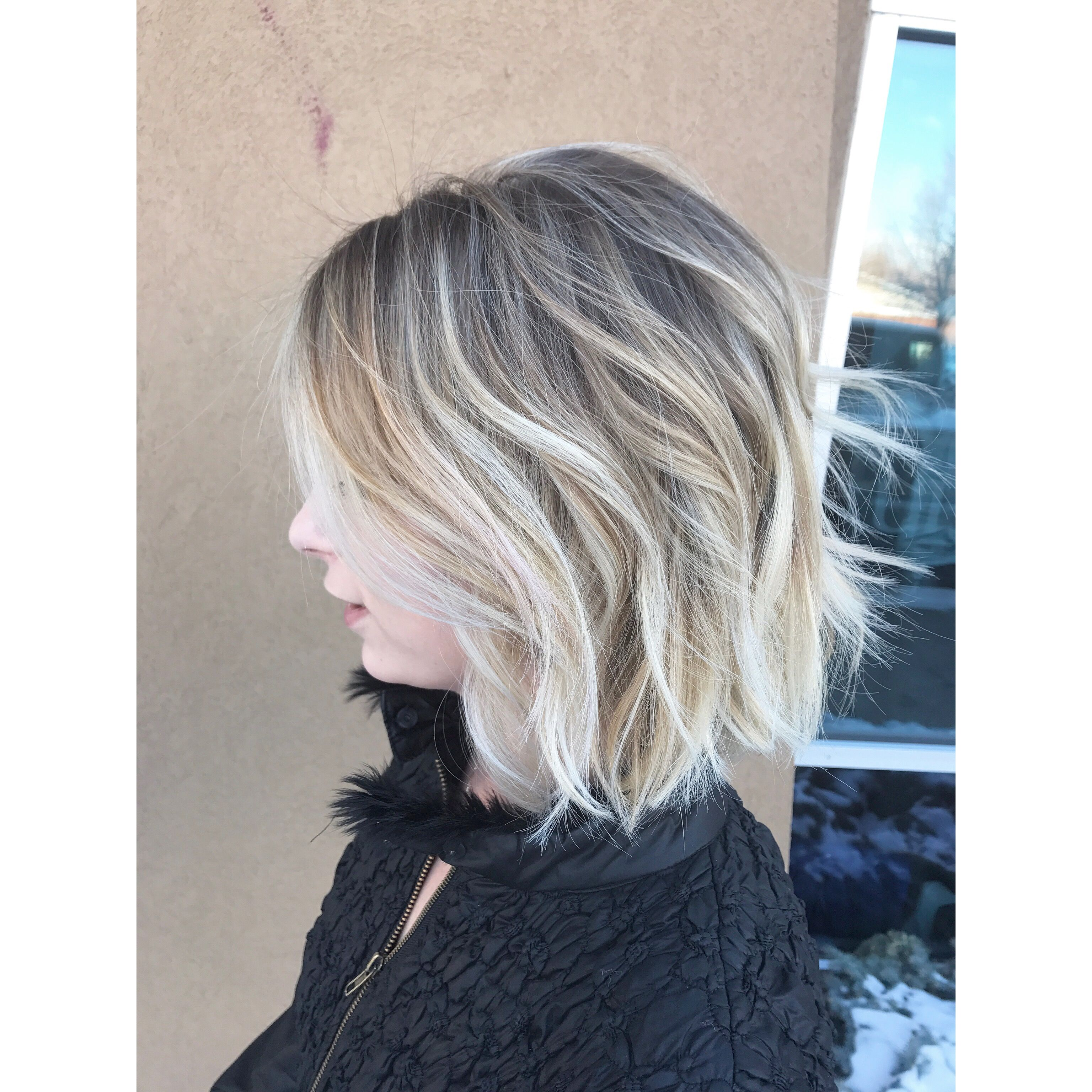 Natural Rooty Icy Blonde Bob Natural Blonde Balayage Icy Blonde Dimensional Blonde Bob Waves Short Hair Short Hair Balayage Natural Blondes Icy Blonde