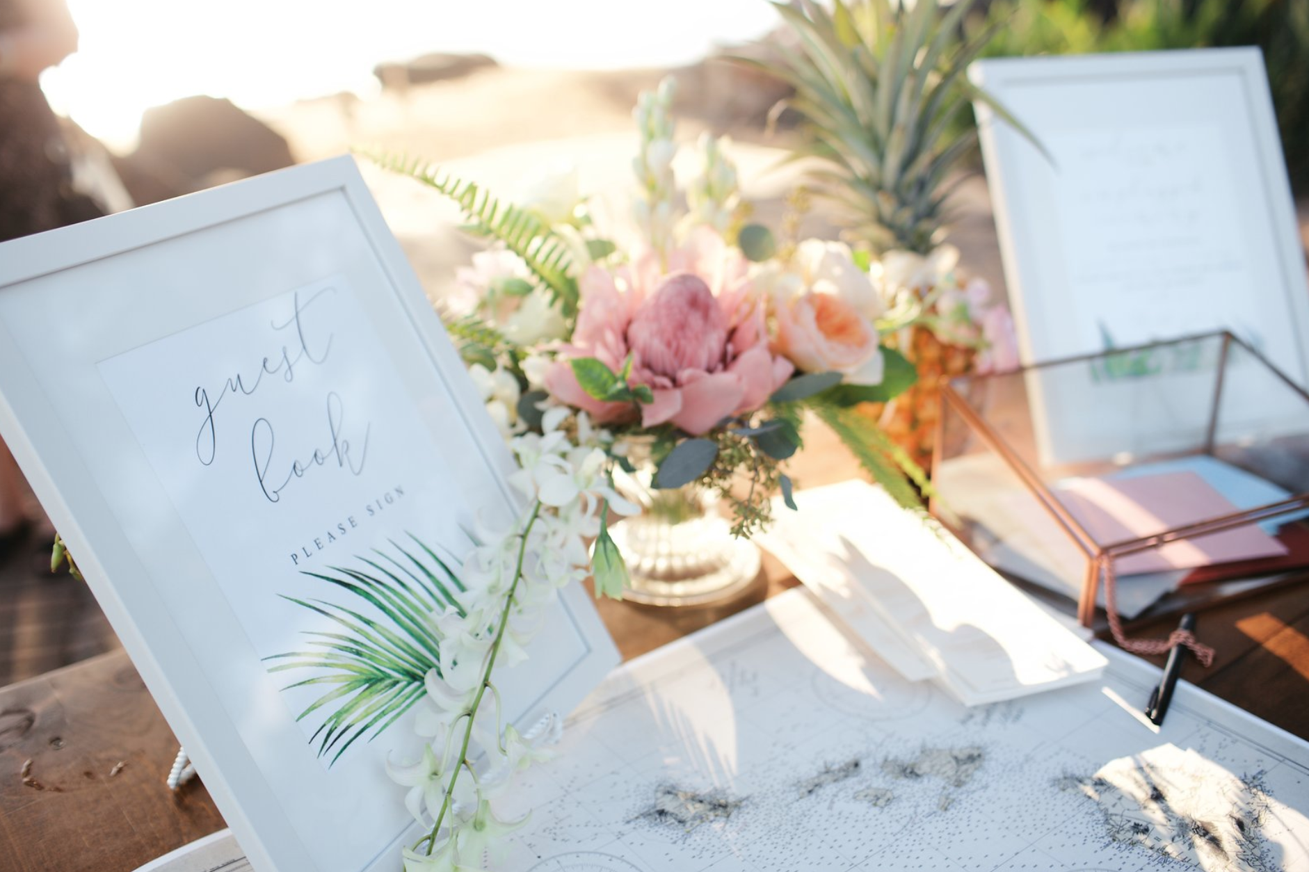 Welcome Table With Signs Map Guest Book Card Box Floral Arrangement