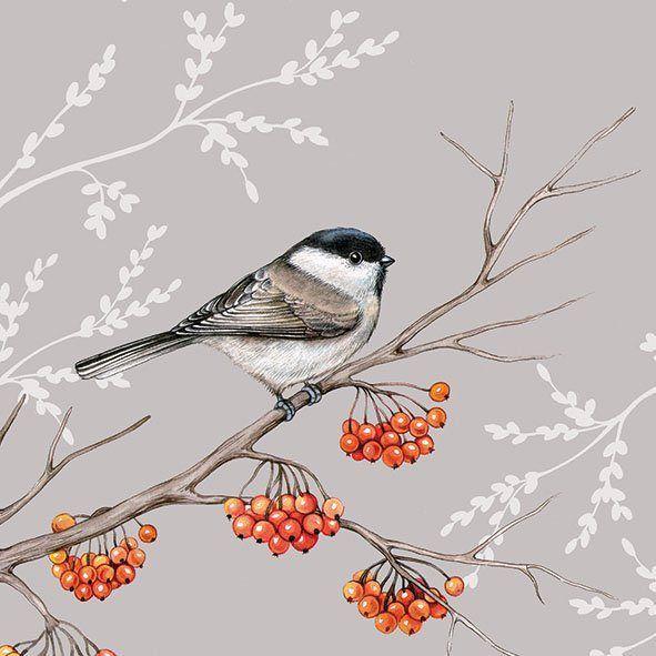 Serviette 'Vogel auf rotem Beerenzweig'
