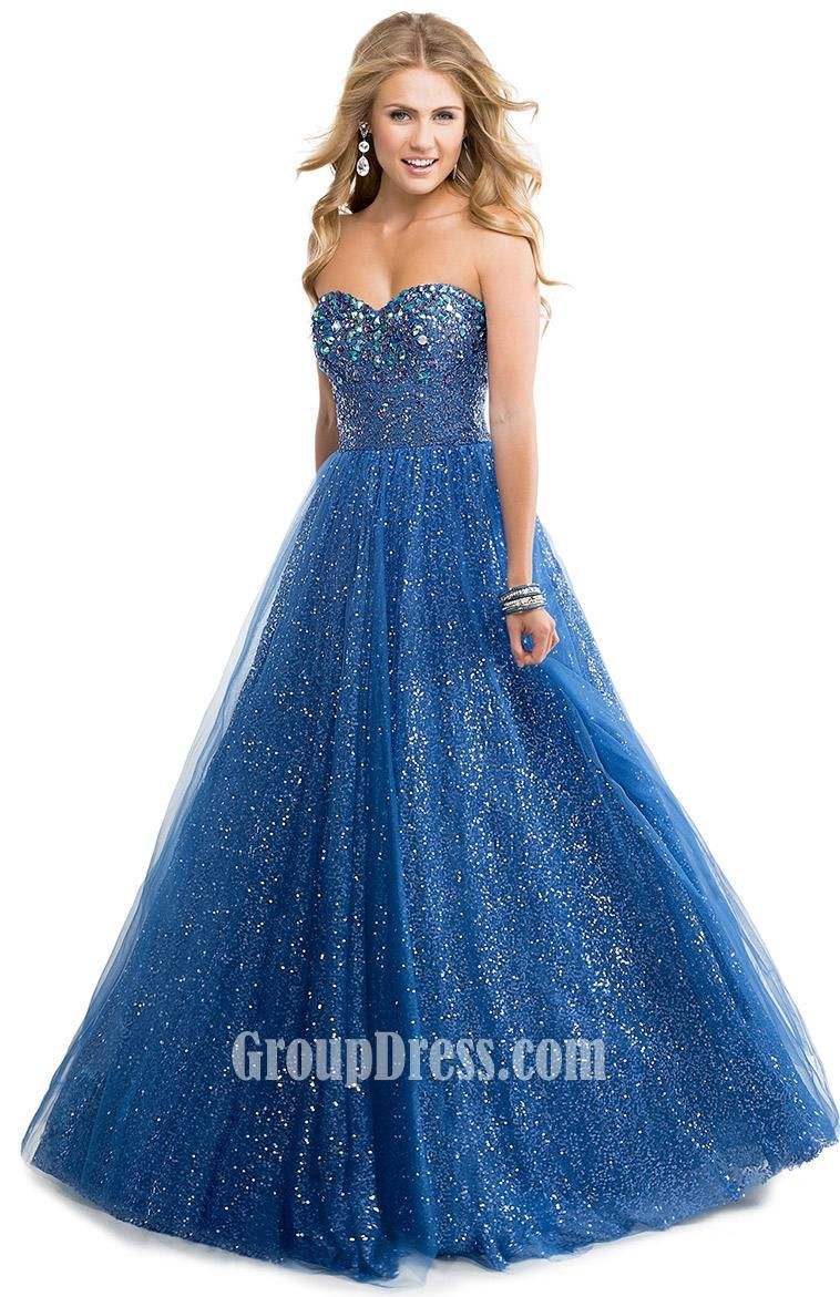 strapless indigo ball gown sequin prom dress with beaded bodice ...