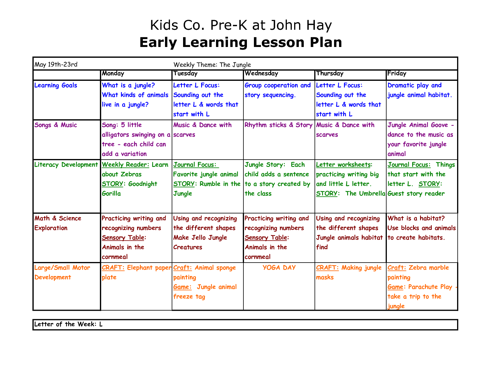 early years lesson plan template preschool lesson plan template copy of pre k at john hay
