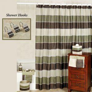 Sage Green Striped Shower Curtain