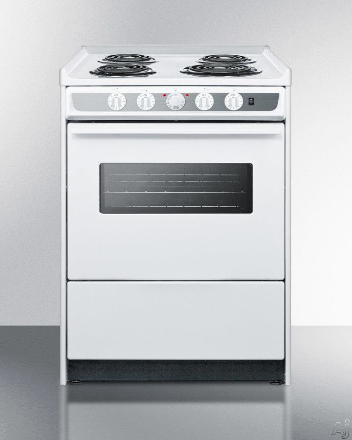 Summit 24 Inch Slide In Electric Range With Cu. Manual Clean Oven, Recessed  Oven Door, Broiler Pan And Storage Drawer