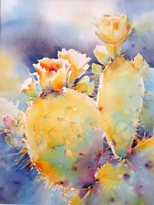 Prickly Highlights by Yvonne Joyner Watercolor www.yvonnejoynerstudio.com