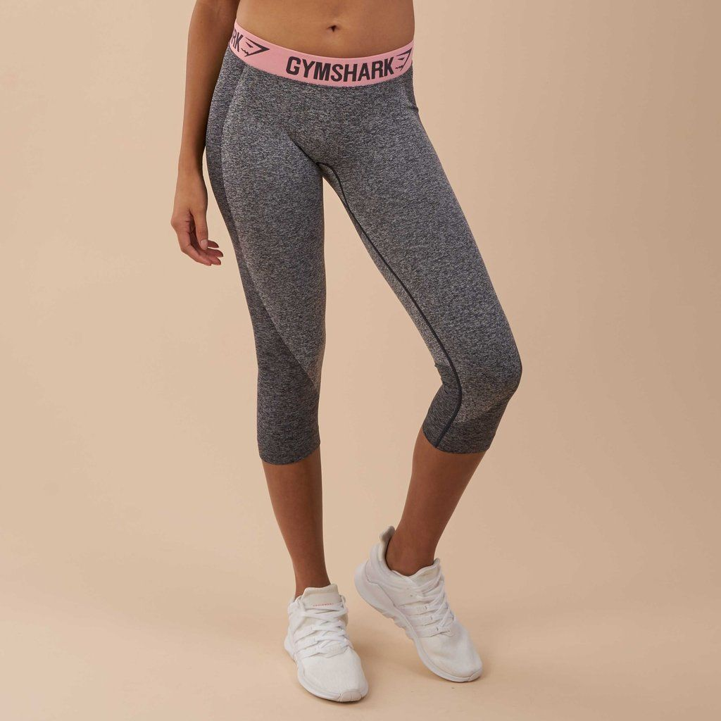 c7de0ef8a8ed0 Gymshark Flex Cropped Leggings - Charcoal Marl/Peach Pink at Gymshark