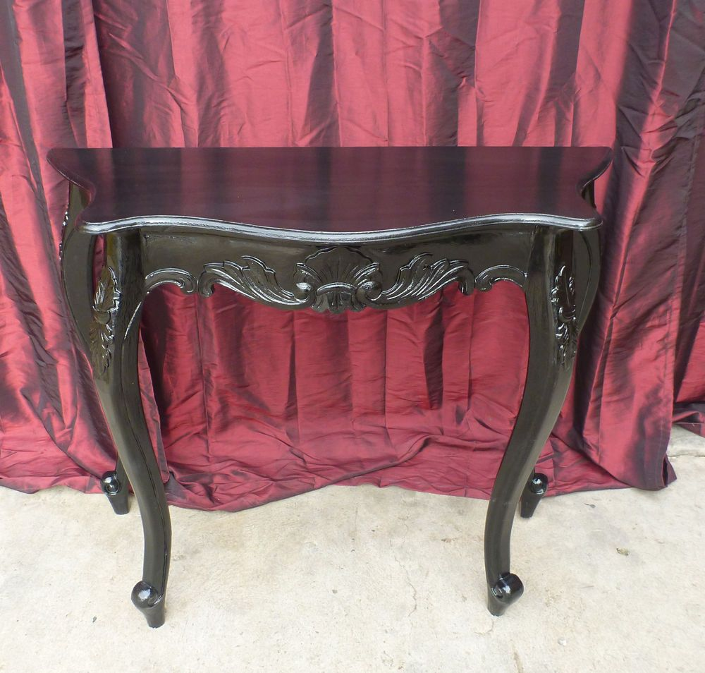 French Provincial Hall Vanity Display Table Antique Black Leaf Shabby Chic Small