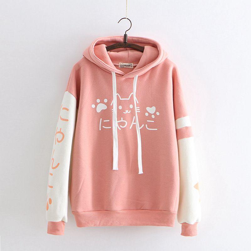harajuku style cute cat anime hoodie women Japan otaku kawaii hooded sweatshirt