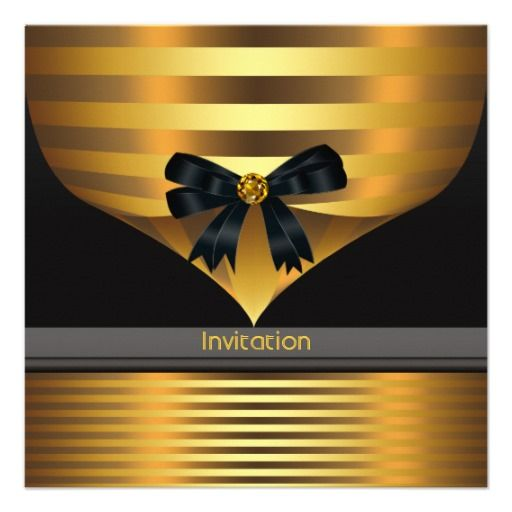 All Occasion Black Gold Party Invitation Template Zazzle