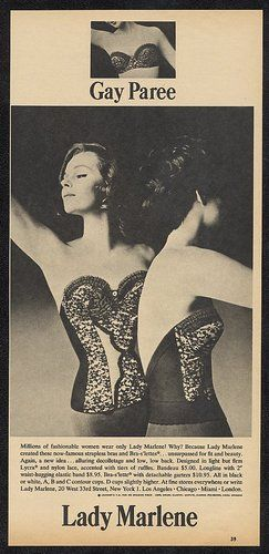 5507d0422f 1963 Lady Marlene lingerie black lace strapless bra print ad