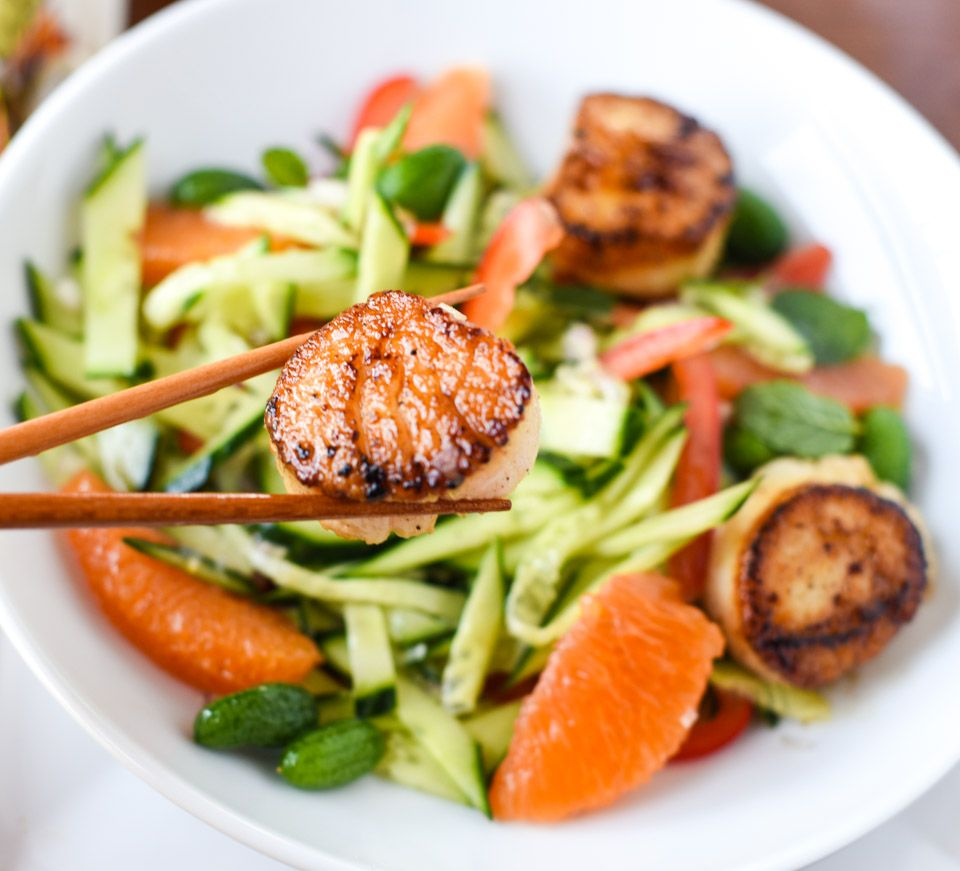 Cucumber salad with scallops recipe seafood recipes