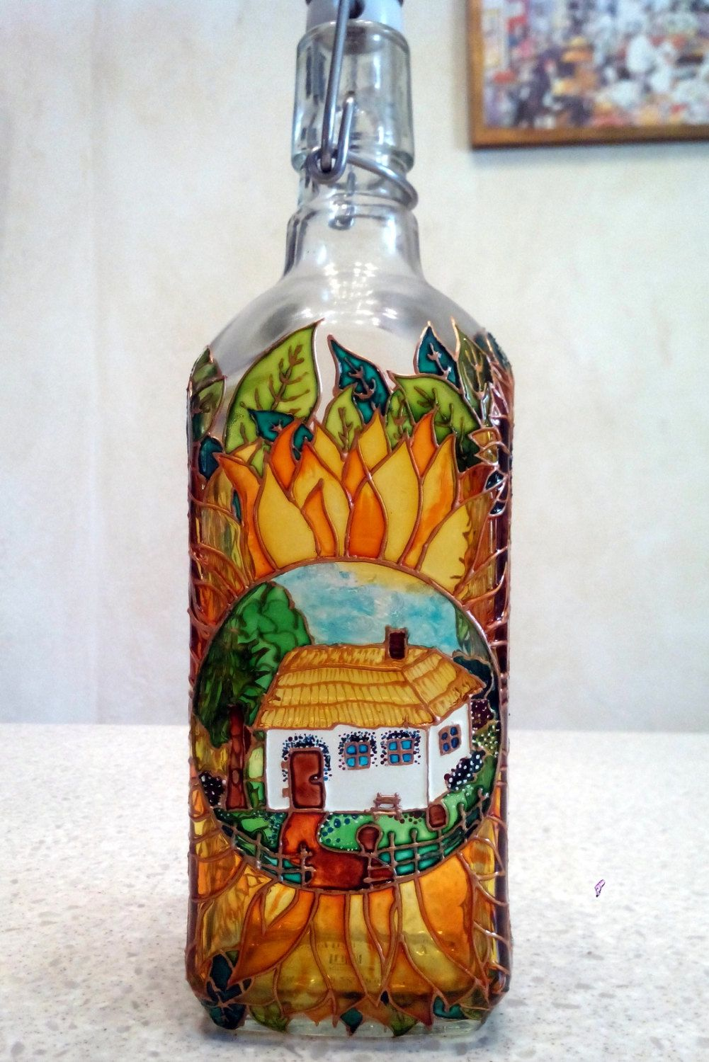 Ukrainian Style Bottle Hand Painted Glass Bottle For Oil Or Vinegar Tincture Carafe Glass Bottles Art Painted Glass Bottles Wine Bottle Crafts