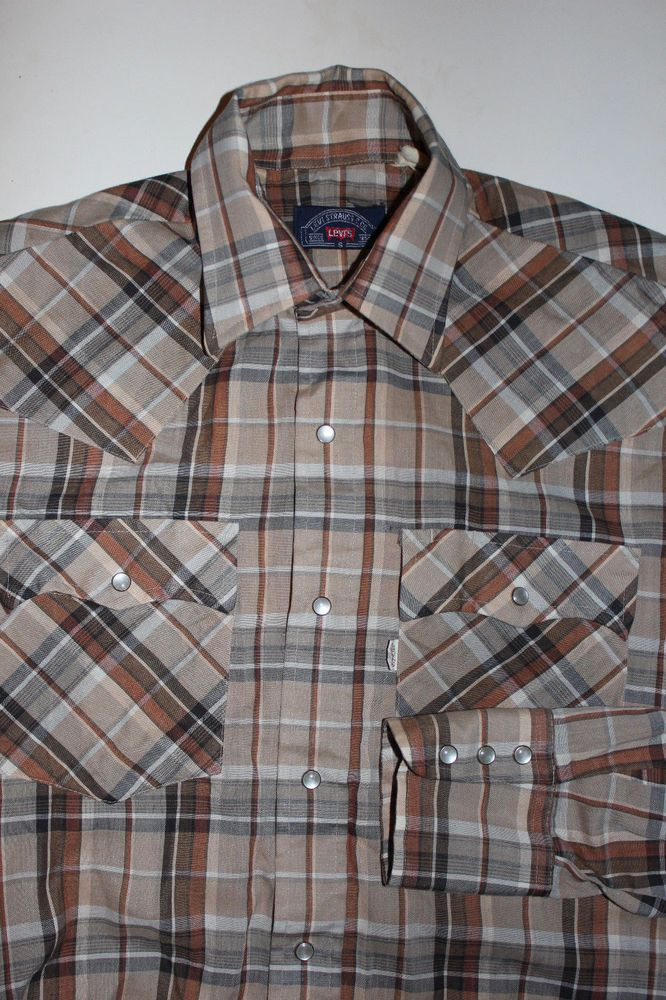 b7d6d465 Mens Levis Plaid Long Sleeve Western Pearl Snaps Shirt Sz Small #Levis  #Western