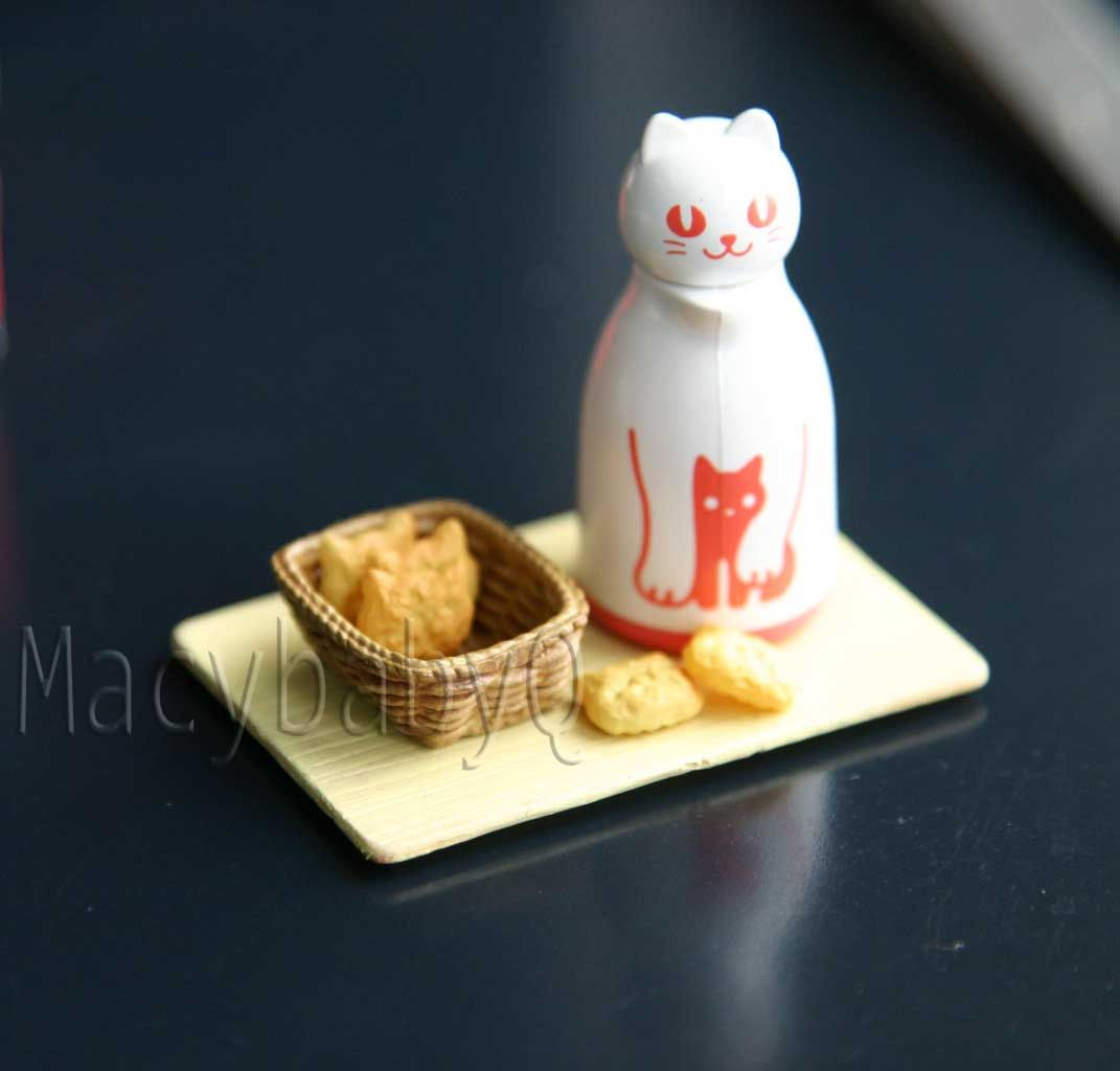 Miniature Food Ring - Cat head crispy bread in basket with tea   via Etsy