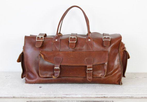 Mens Travel Dark Brown Leather Travel Satchel Bag Large Vintage by salvagelife,
