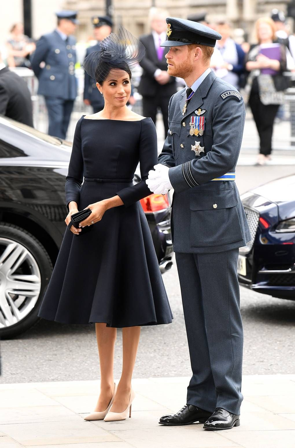 meghan markle wearing a little black dior dress to the raf 100th anniversary celebrations fashion royal fashion meghan markle style pinterest